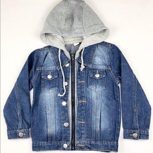 Other - Washed Denim Hood Knitted Jacket
